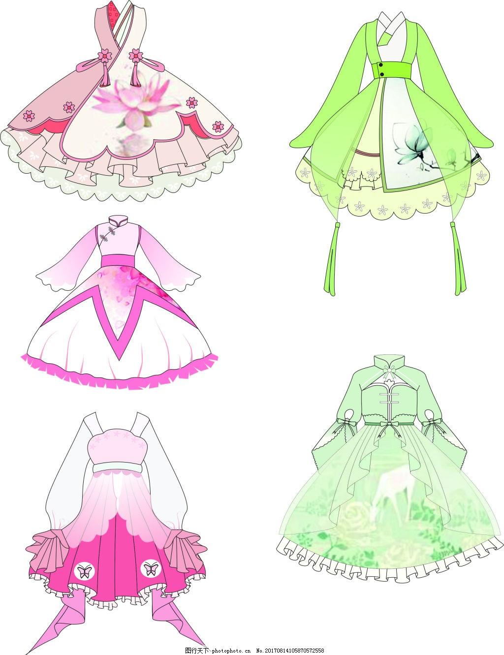 服装款式图 古风 矢量图 裙子