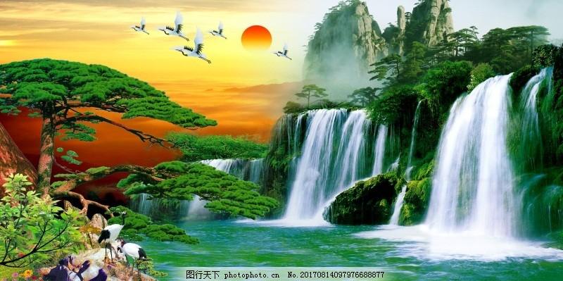 室内挂画山水画背景墙望庐山瀑布 3d渲染        背景墙 瀑布 松树