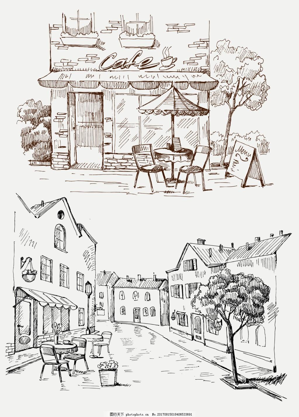 手绘速写风格咖啡厅 创意 风景 插画 街道 休闲
