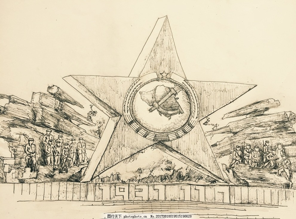 瑞金红星广场 手绘 手绘场景 红色 革命情怀 景点 文化艺术 其他