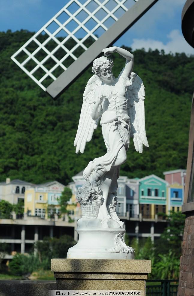 天使 天使雕像 雕塑 翅膀 神话 花篮 天空 森林 风车 大理石 欧式建筑