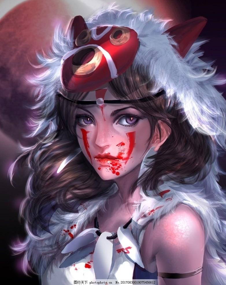 幽灵公主手绘 日本动漫 宫崎骏作品 魔法公主 幽灵少女 白狼神 山神兽