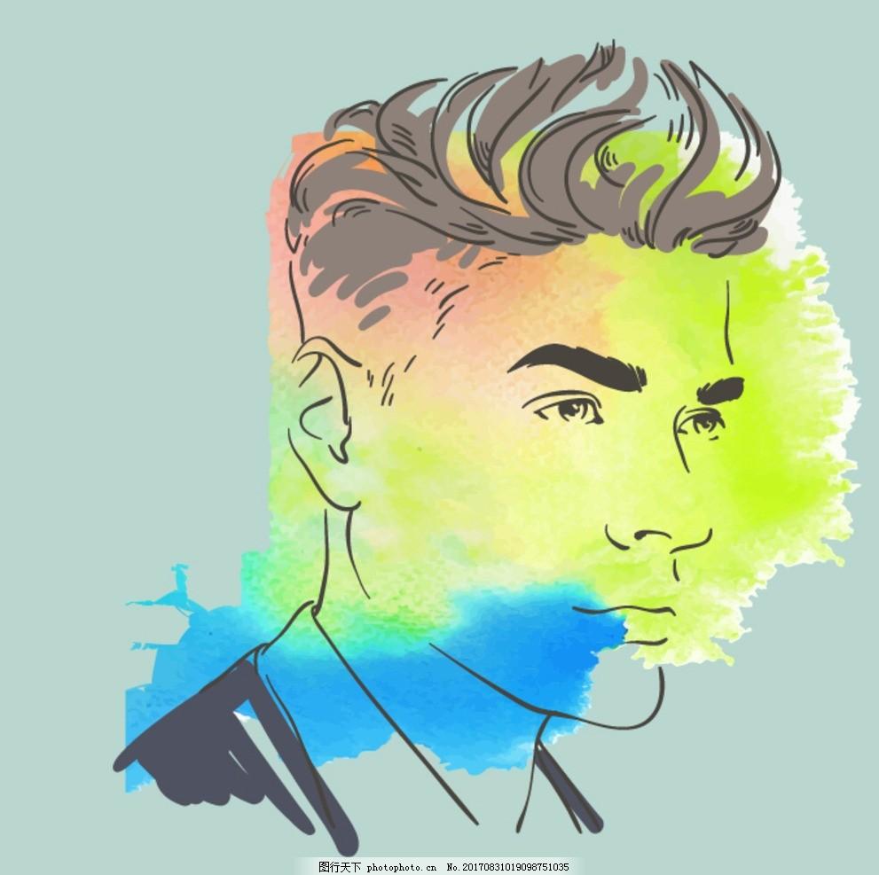 时尚人物 插画 人物水彩 水彩人物头像 头像手绘 简单手绘 手绘素材