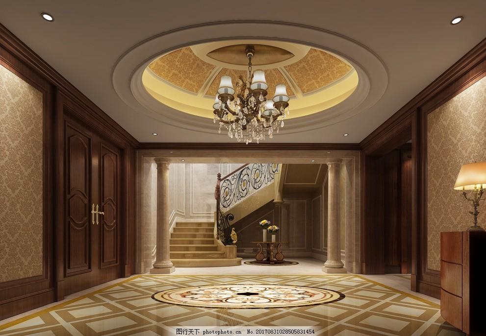 别墅楼梯 地面拼花 圆形顶 护墙板 欧式 石材楼梯 效果图设计 设计