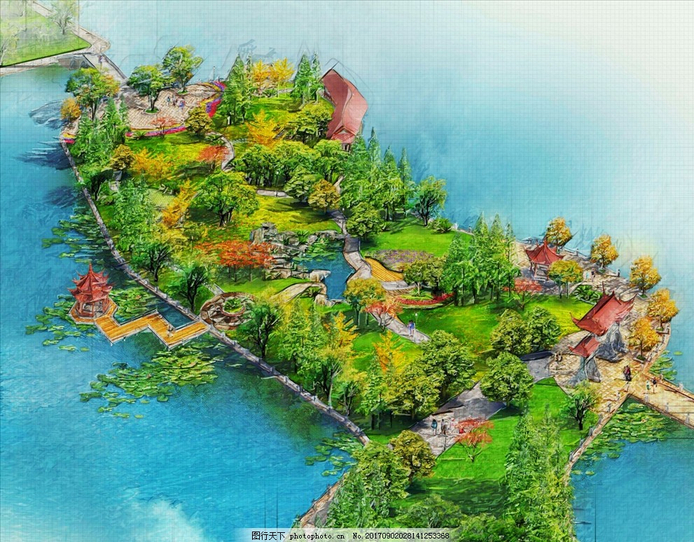 手绘环湖公园鸟瞰图