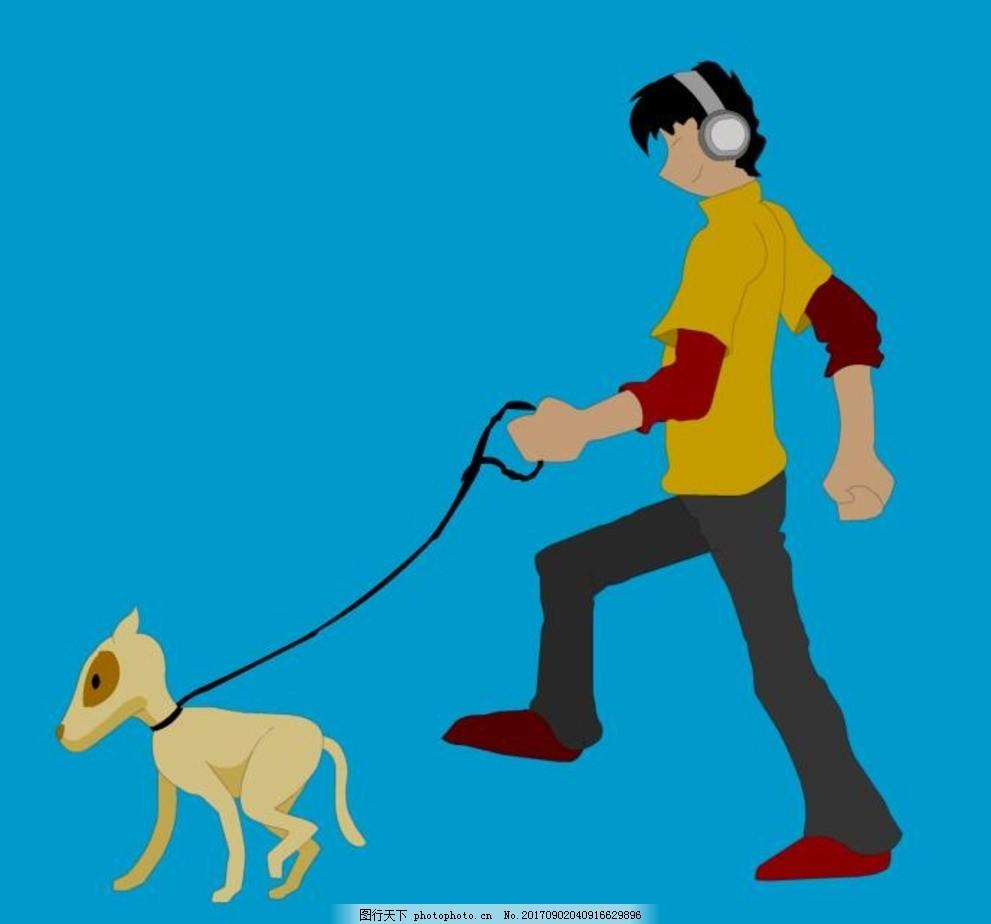 卡通动漫人物遛狗动画 人物走路动画 游戏人物遛狗 小狗走路动画图片