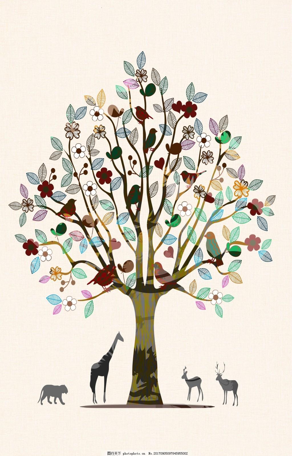 彩色手绘树叶小鸟动物装饰画