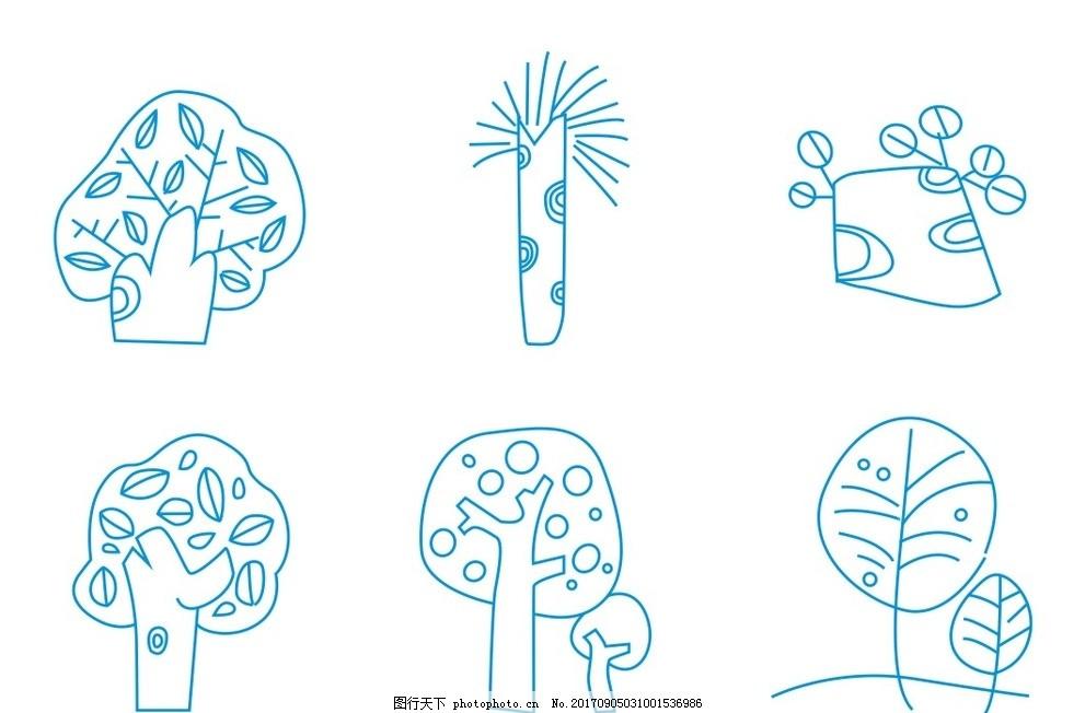 简笔画 树简笔画 简笔画树叶 树简图 植物简笔画 花朵 花卉 卡通画