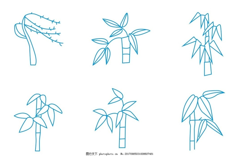 简笔画 竹子简笔画 草木简图 植物简笔画 卡通画 线条 线描 线稿