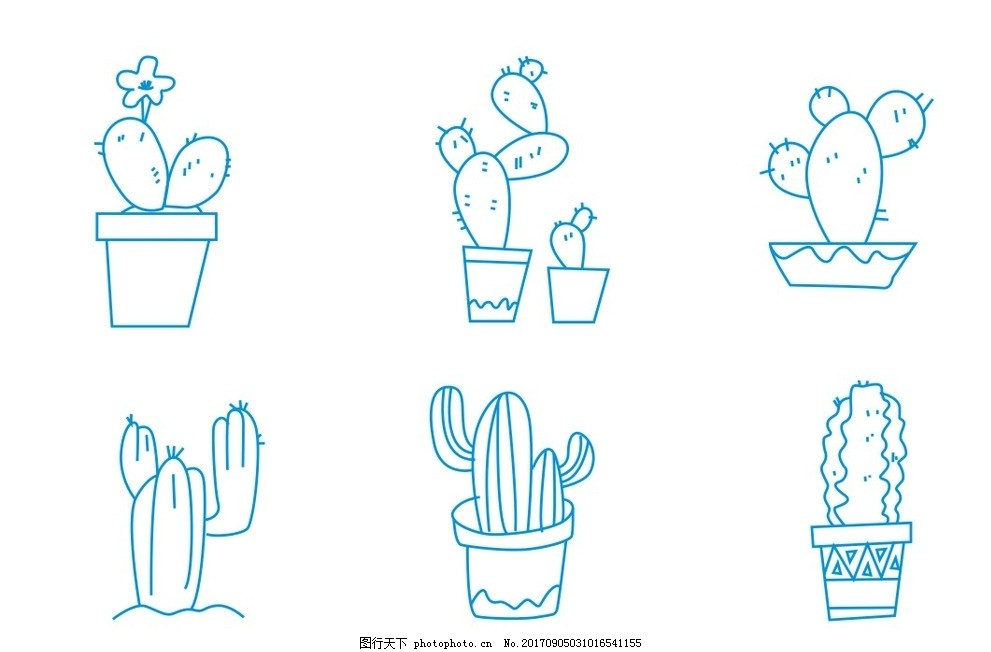 仙人掌简笔画 植物简笔画 花朵 花卉 卡通画 线条 线描 线稿