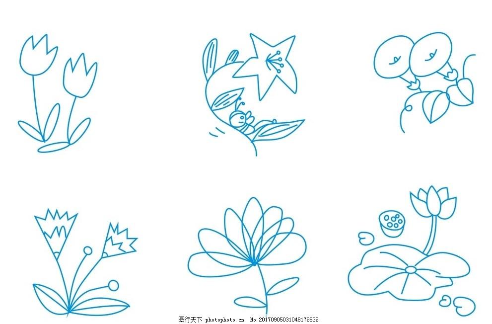 简笔画 简笔画鲜花 植物简笔画 花朵 花卉 荷花简图 牵牛花简图