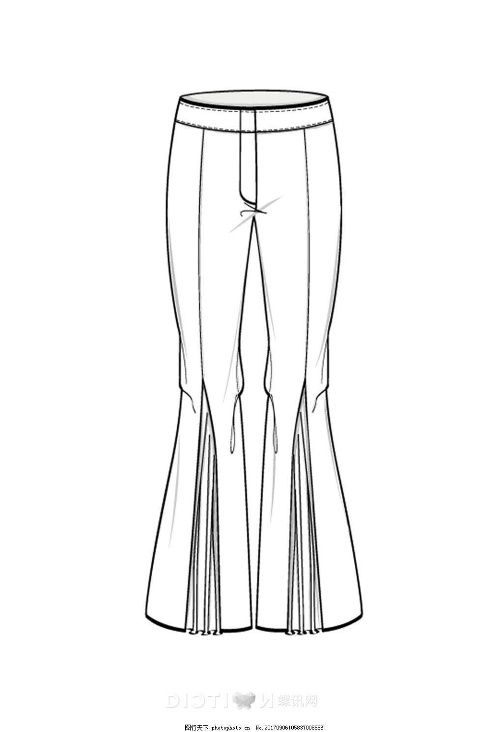 长裤短裤裤子服装设计手绘线稿(2)