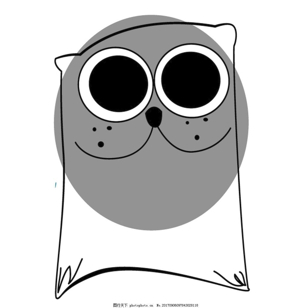 灰色猫头手绘线条笑脸大眼睛萌系装饰画