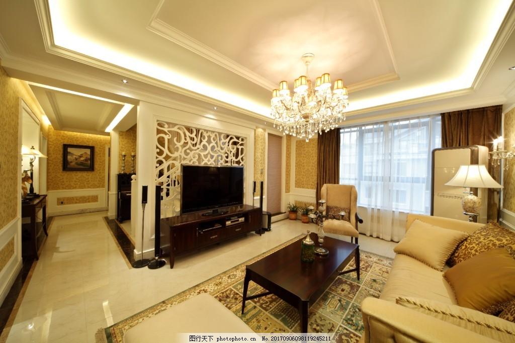经典轻奢欧式风格客厅吊灯效果图 经典 轻奢 欧式风格 客厅吊灯 玄关