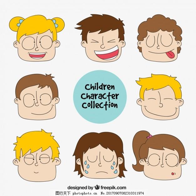 手绘儿童脸 卡通 人 男孩 绘画 人物 卡通人物 草图 素描 童年