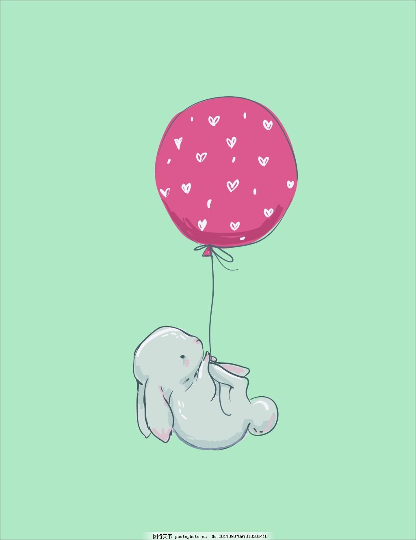 手绘气球兔子装饰画
