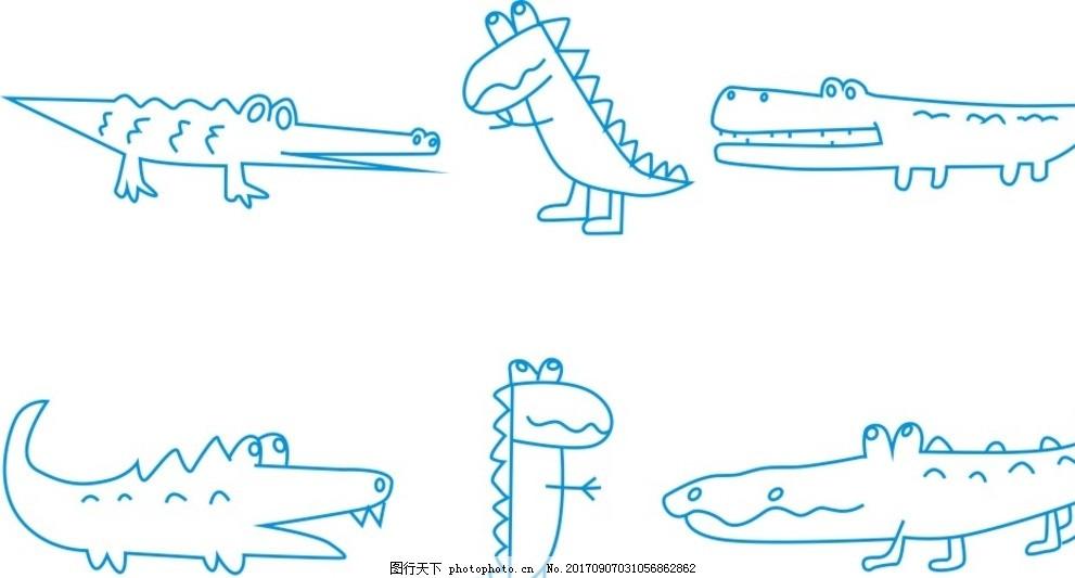 鳄鱼简笔画 金鱼 金鱼简笔画 小动物简笔画 卡通画 线条 线描图片