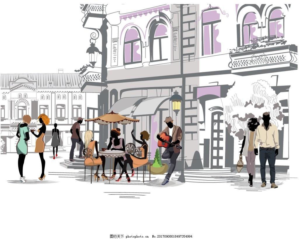 街角露天咖啡厅插画 场景 手绘 速写 艺术 露天 咖啡厅 插画 人物