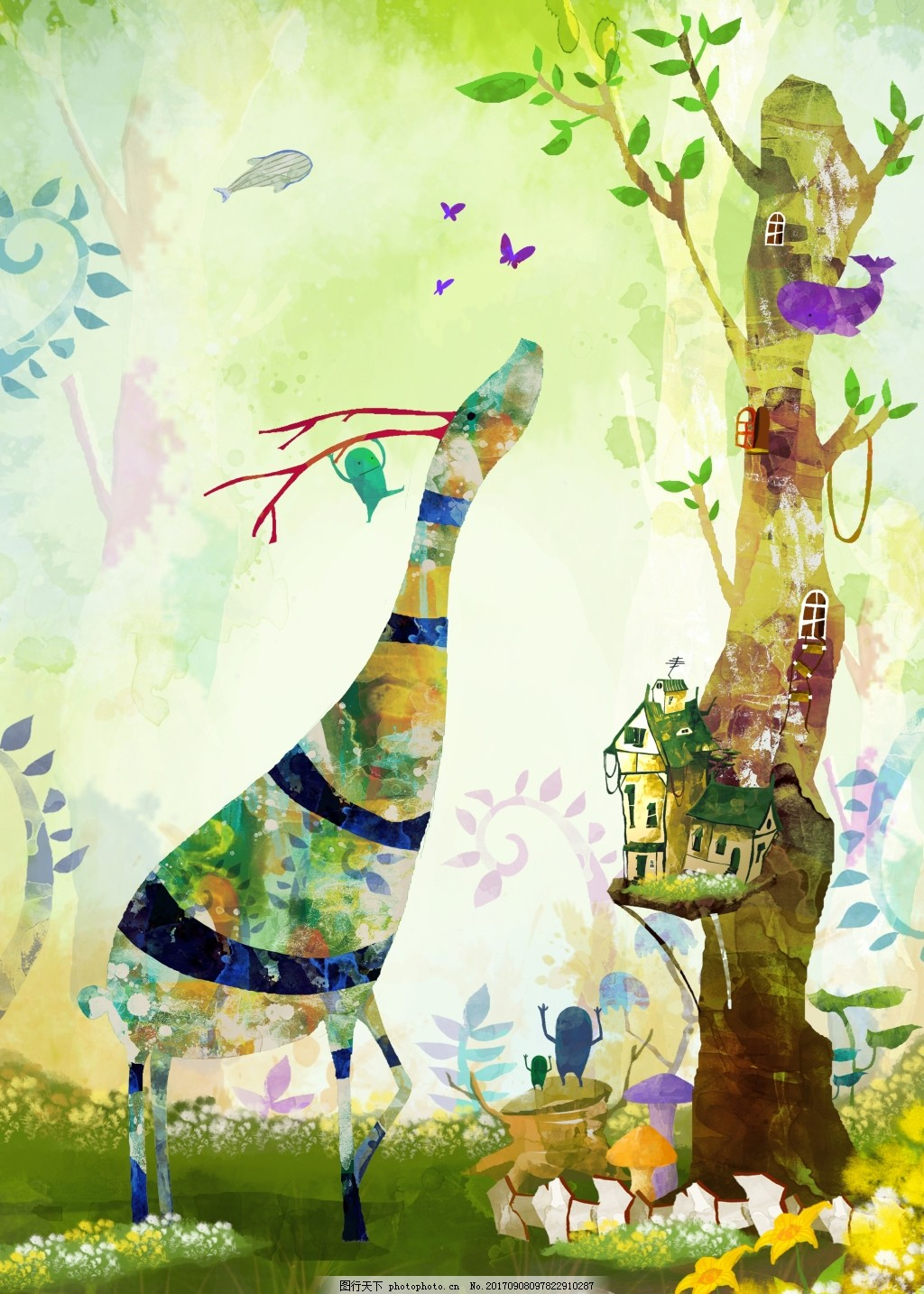 手绘彩绘山水画装饰画