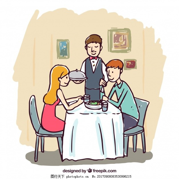 手绘浪漫晚餐场景 食物 菜单 人 餐馆 情侣 厨师 烹饪 绘画