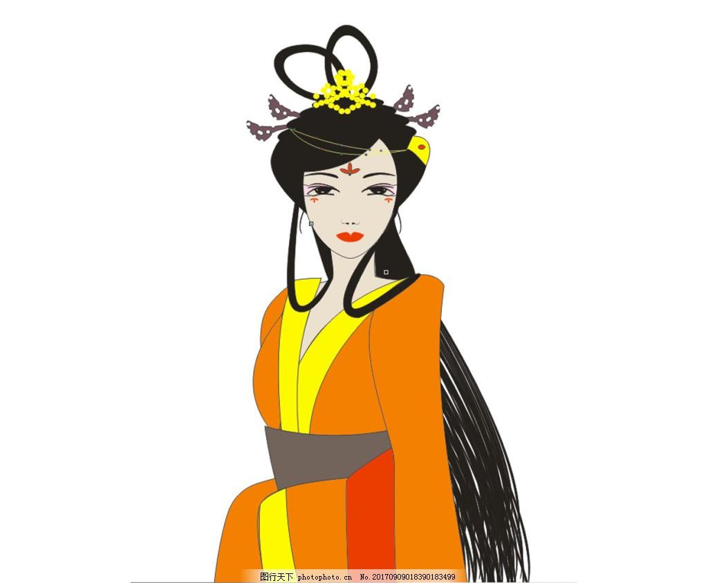 古代美女卡通插画 古代美女手绘 矢量人物 贵妃 手绘美女 美女插画