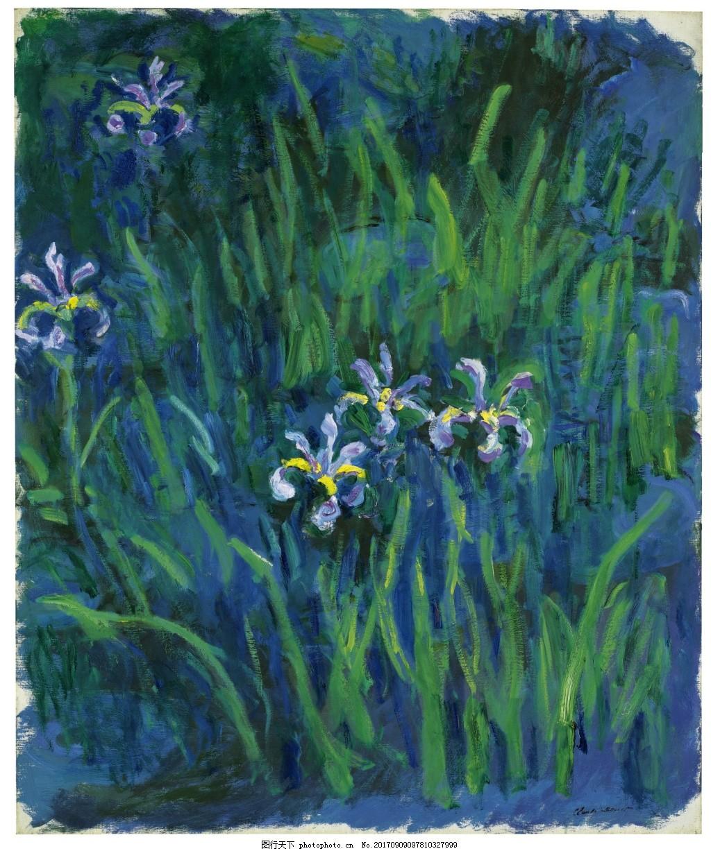 美丽植物油画风景装饰画 花朵 春天 风景素材 土地 暖色调 树木