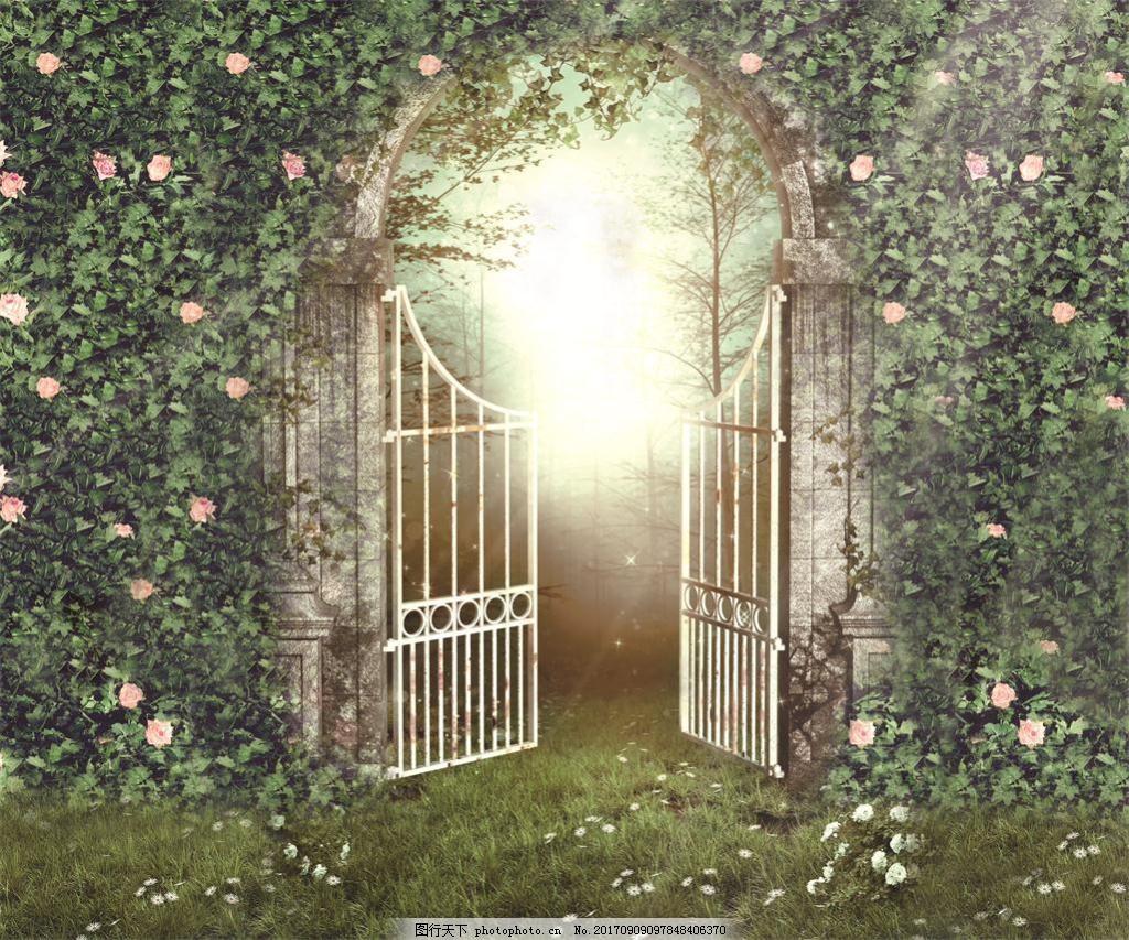 森系婚礼罗马柱欧式栅栏门花墙森林喷绘背景