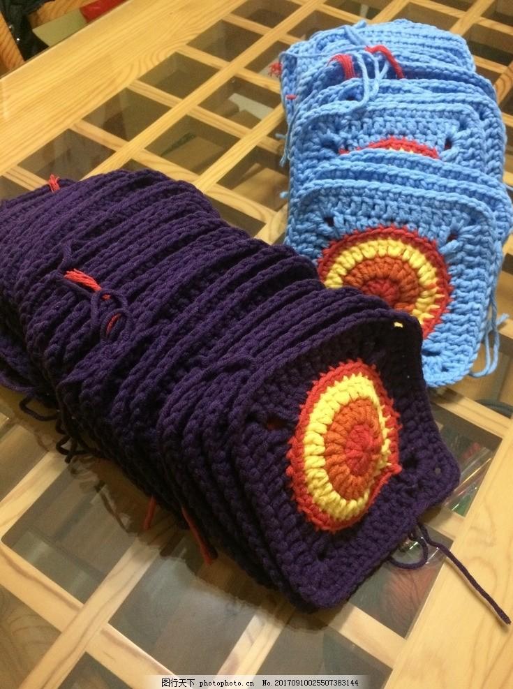 毛线钩织过程 钩织毯子 手工 手工钩织 圆圈 毛线毯子钩织 摄影