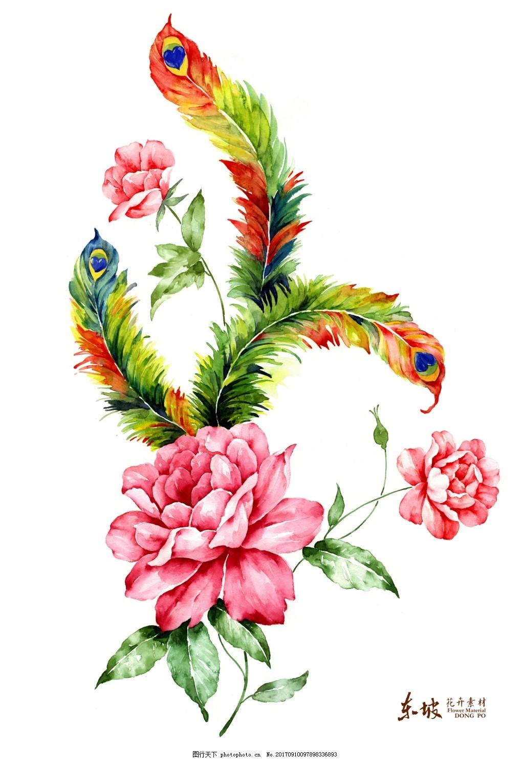 手绘彩绘花朵树叶花卉装饰画