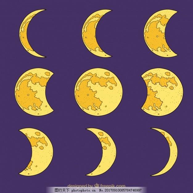 手绘月相图