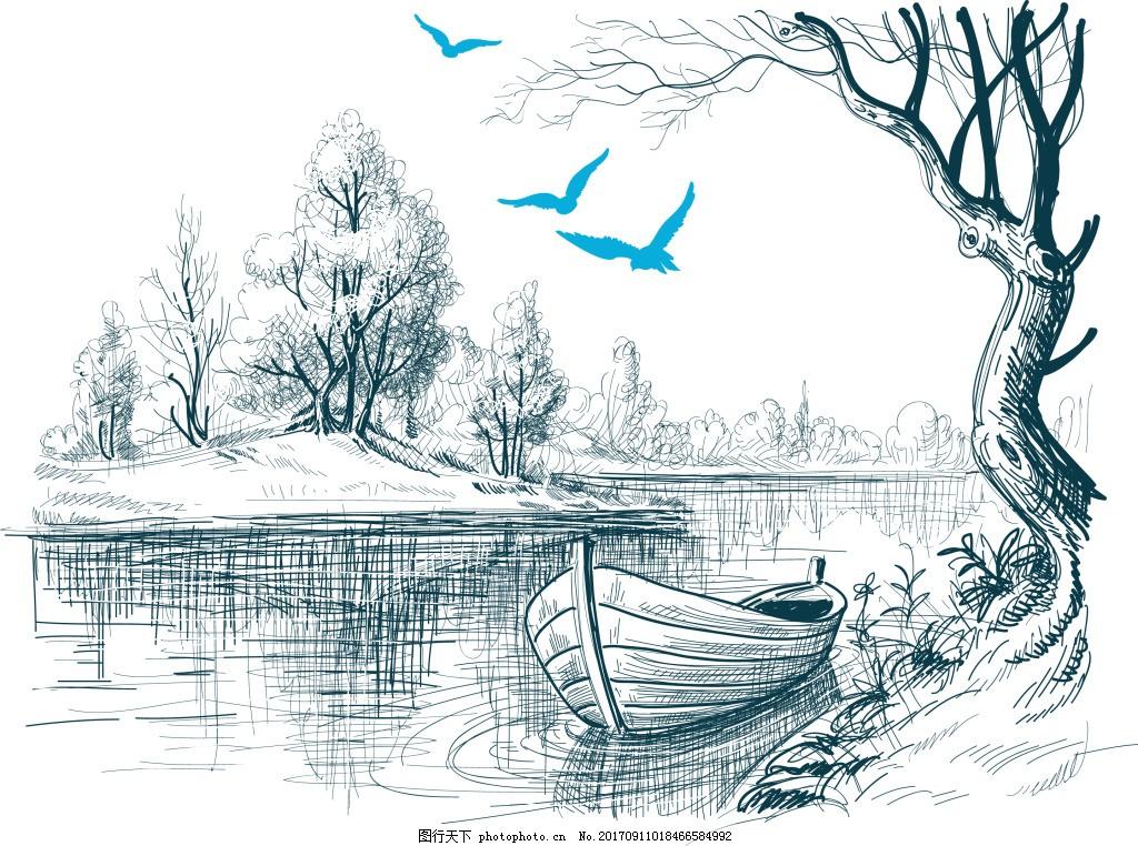 手绘风景小船插画