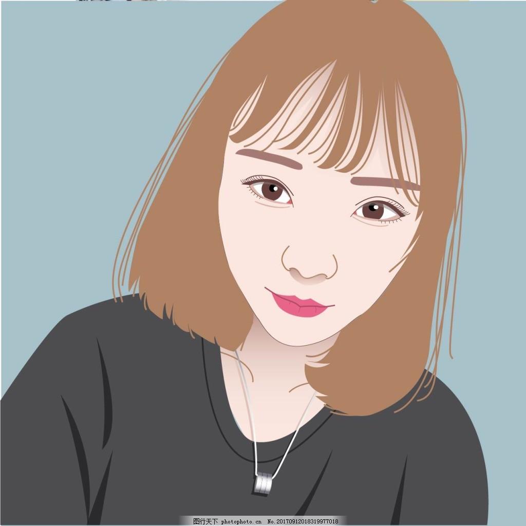 短发女生插画人物头像正面ai手绘