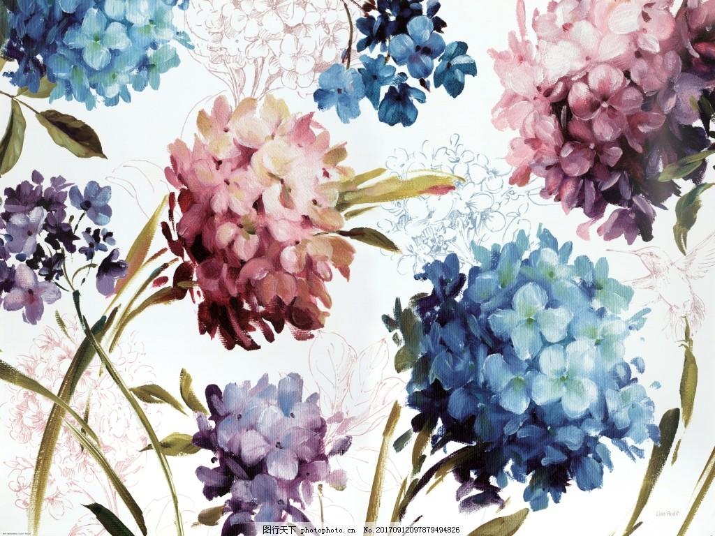 水粉画绣球花装饰画
