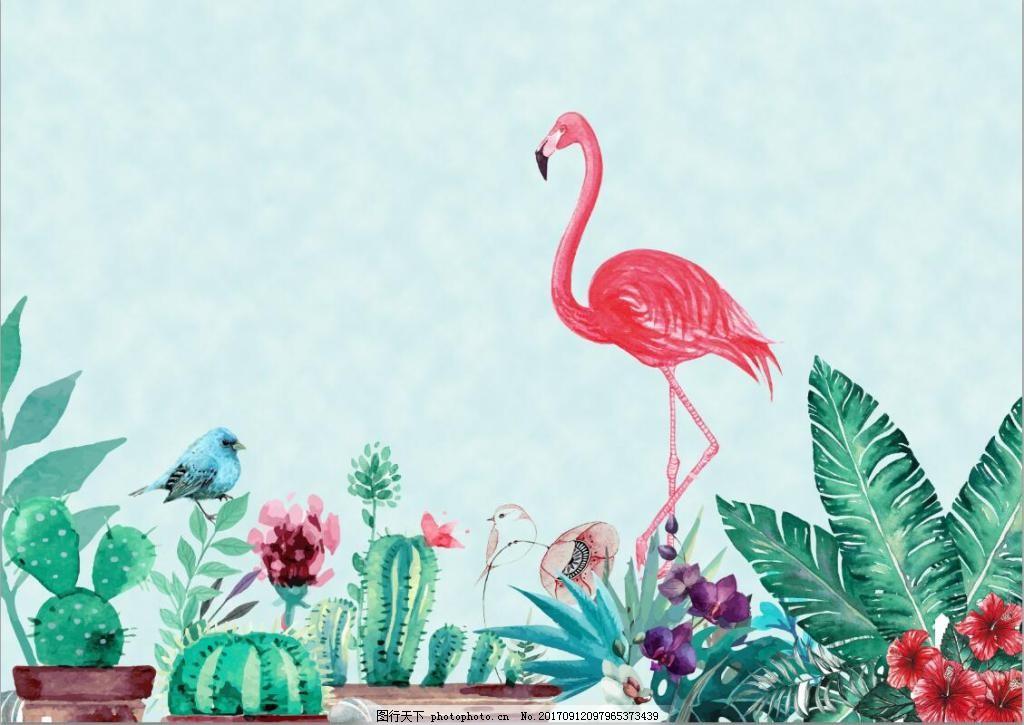 火烈鸟手绘电视墙装饰 装饰画 绿植