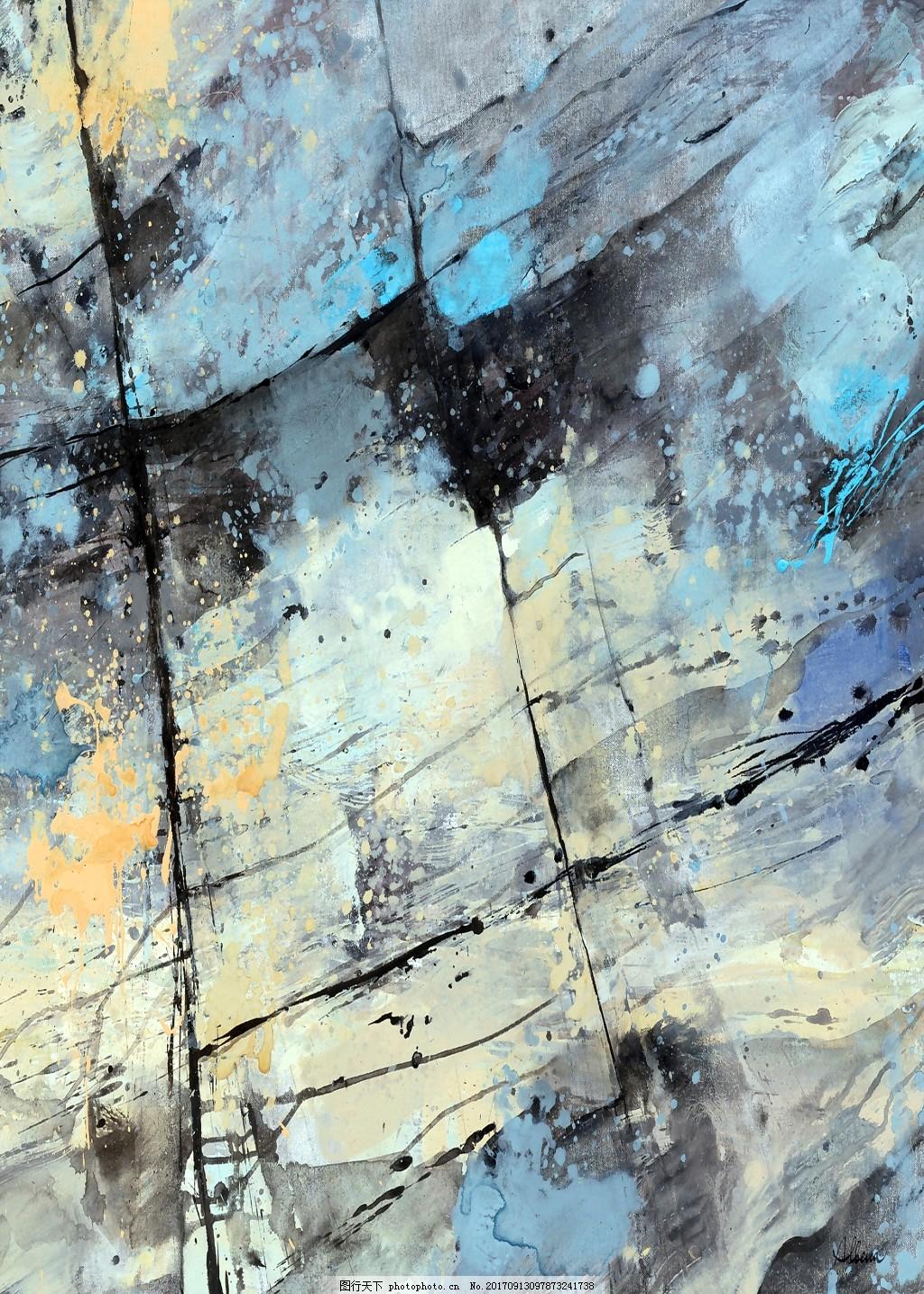 手绘彩色树叶水滴河水清澈抽象装饰画
