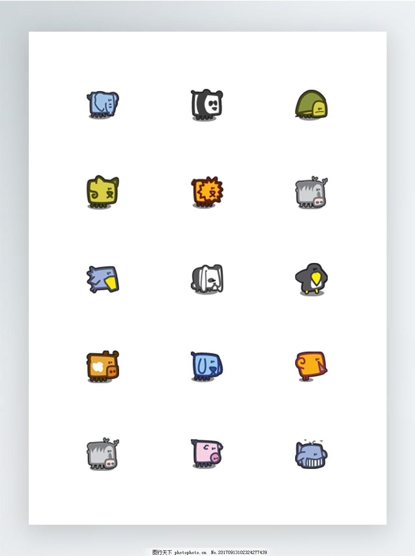 超可爱的方块卡通动物图标集