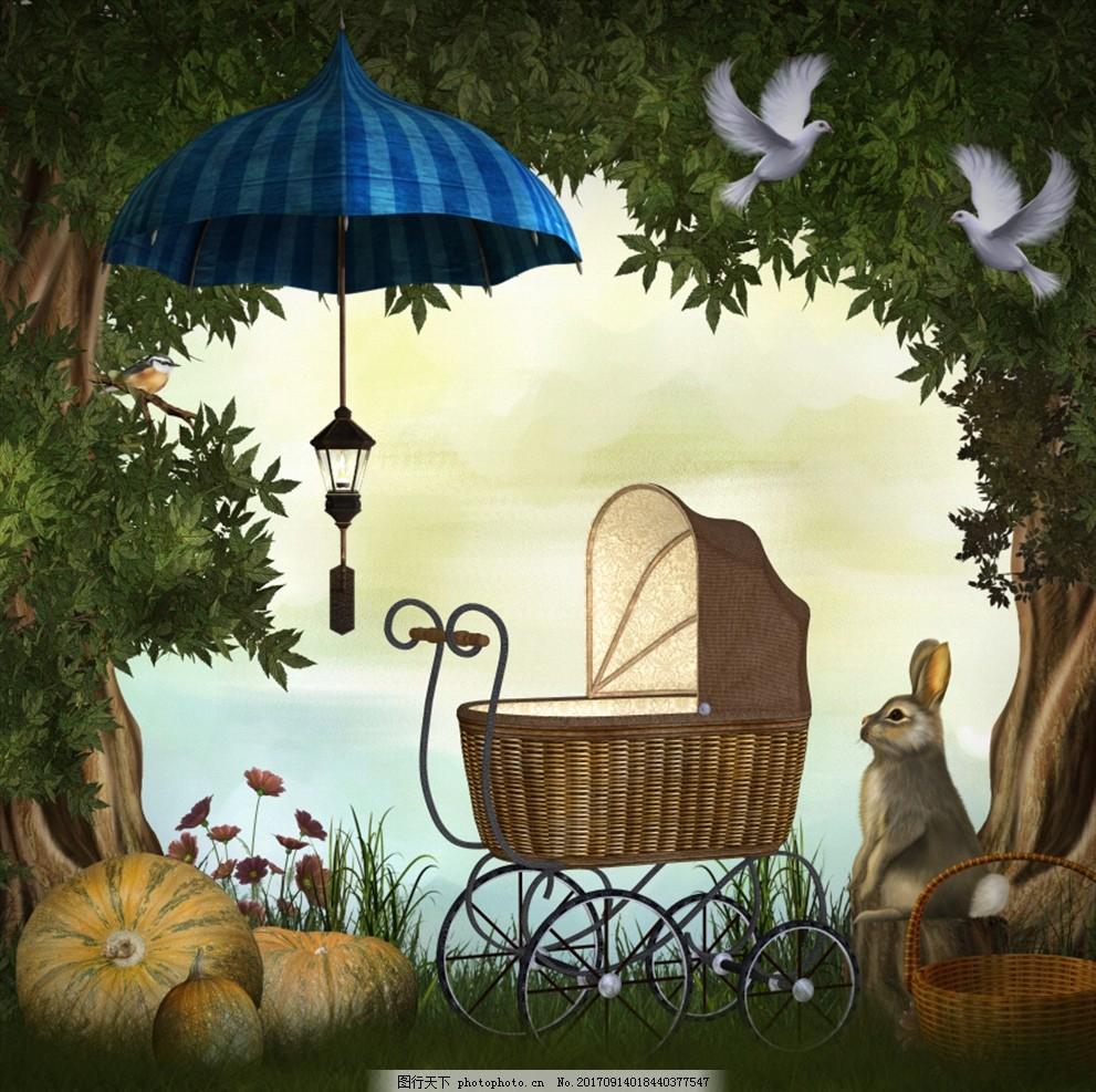 梦幻 影楼背景 童话背景 风景插画 夜空 森林 湖泊 森林背景 梦幻森林