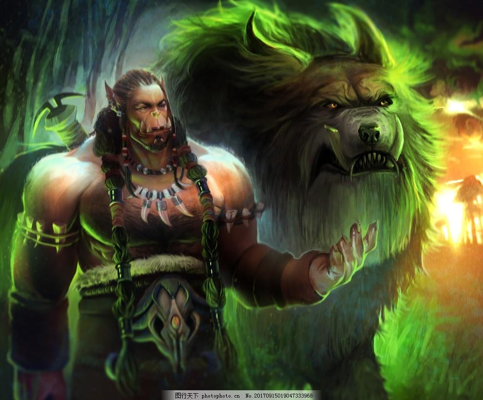 魔兽世界霜狼氏族酋长杜隆坦手绘 萨尔之父 魔兽争霸 霜狼领袖 霜火岭