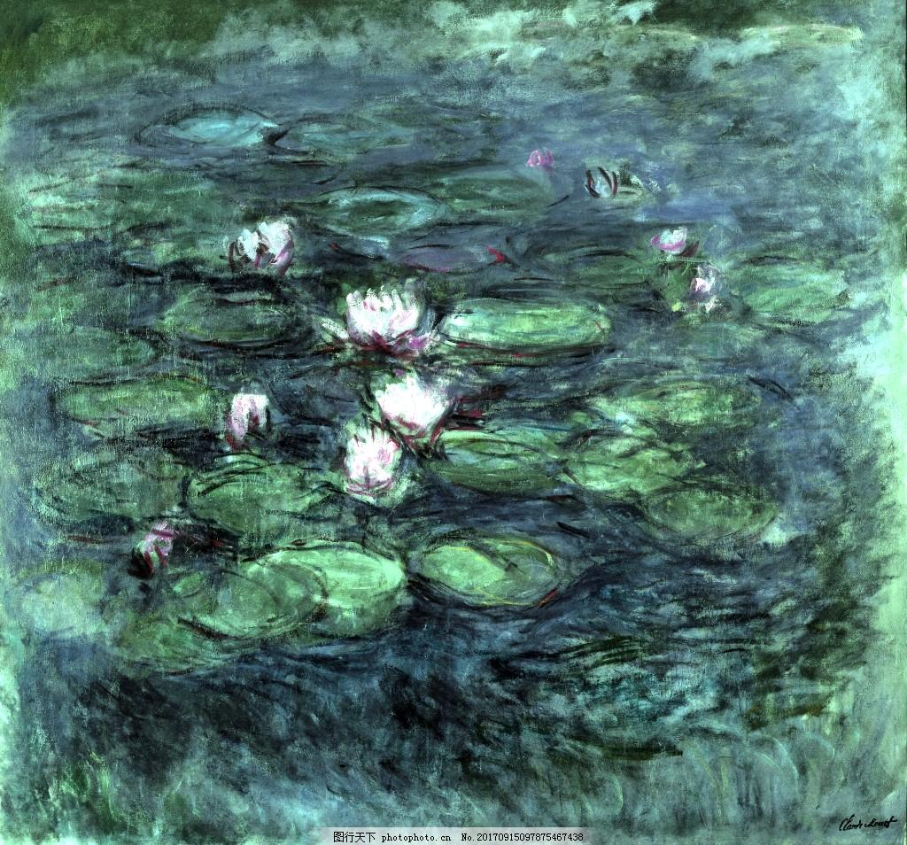 美丽湖边荷花风景油画背景墙素材 抽象画 暖色调 美景 彩色 植物