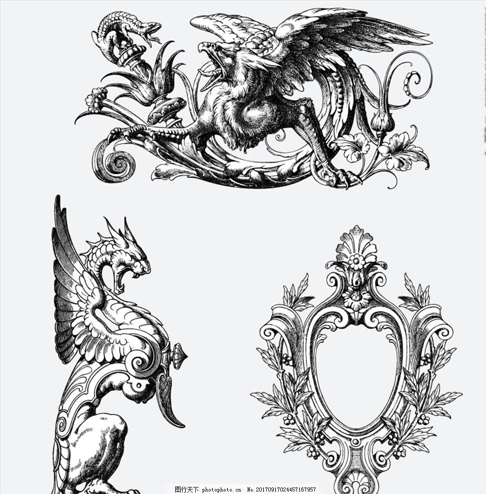 黑白素描神话怪兽,手绘 妖怪 野兽 传说 蜥蜴 麒麟-图