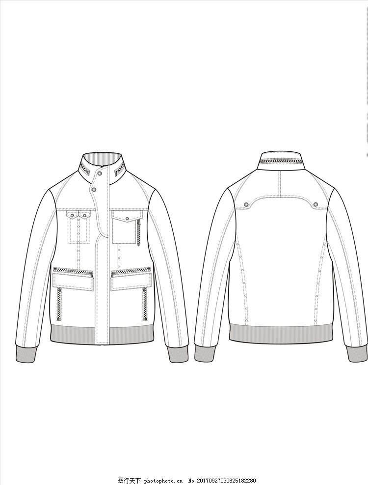 手绘服装 服装设计稿 服装画技法 款式矢量图 外套款式 夹克款式 风衣