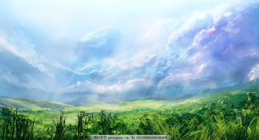 手绘蓝天草地大场景