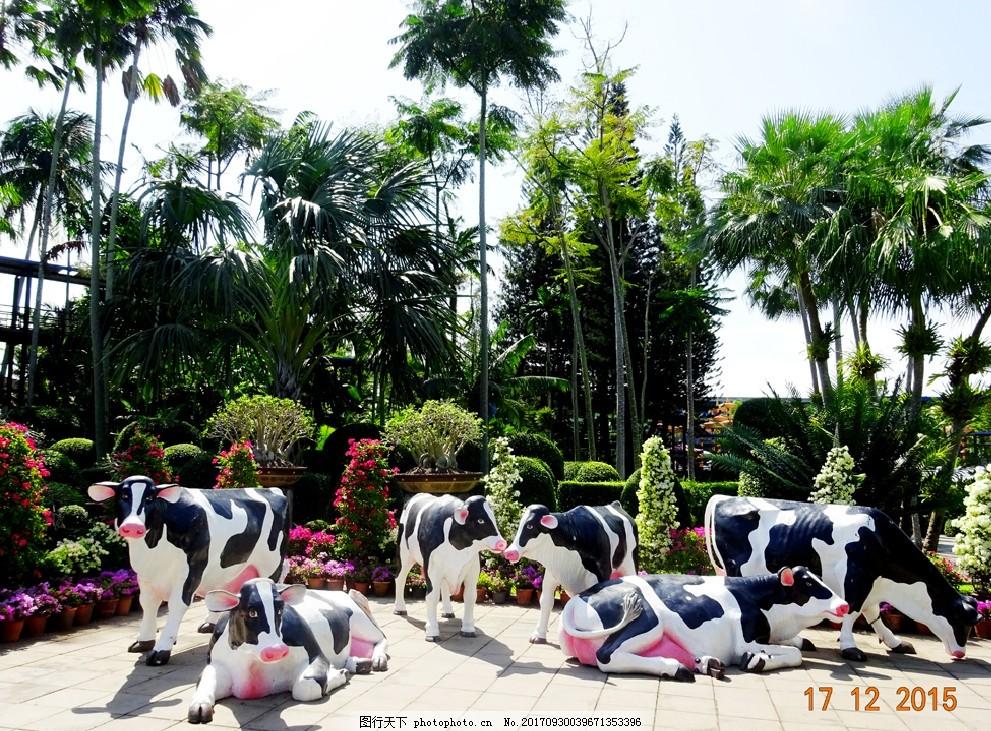 动物雕塑 景观 泰国 绿化 傣族 东南亚 牛 摄影 建筑园林