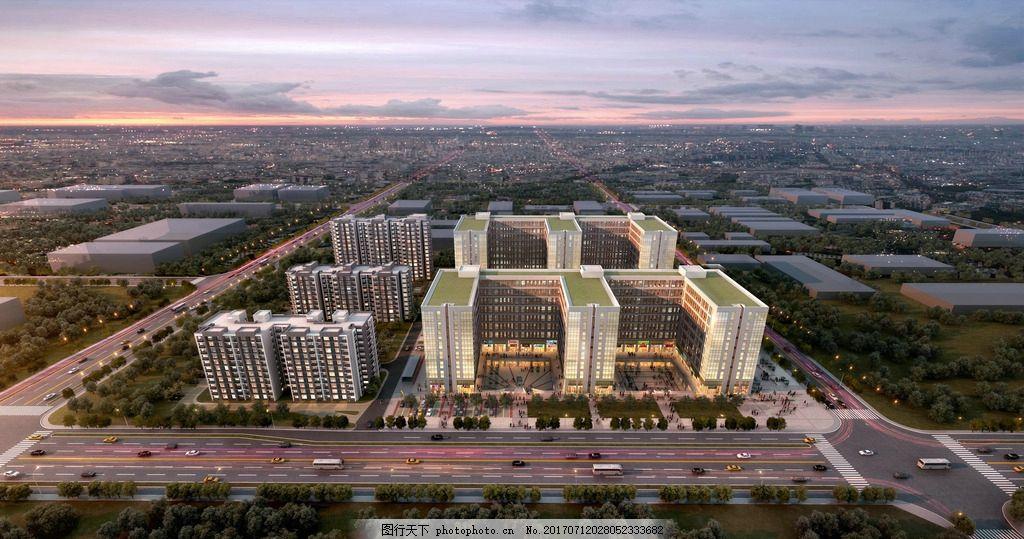 景观黄昏鸟瞰效果图,北京,jpg,高清,楼体,楼房,地产广告艺术