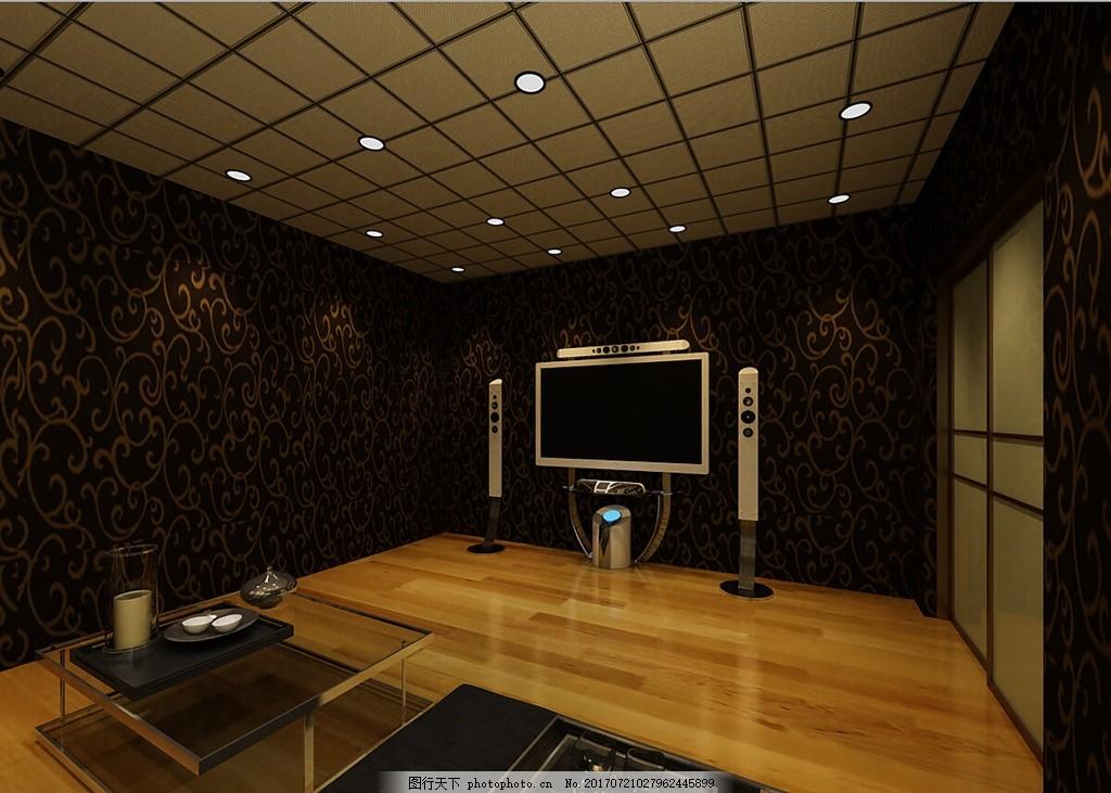 地下室家庭影院效果图,电视,木地板,茶几,壁纸,射灯,地产广告艺术