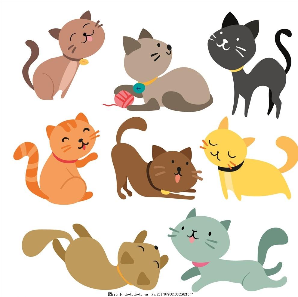 儿童画室宣传单图片_可爱卡通矢量猫图片_动漫人物_动漫卡通-图行天下素材网