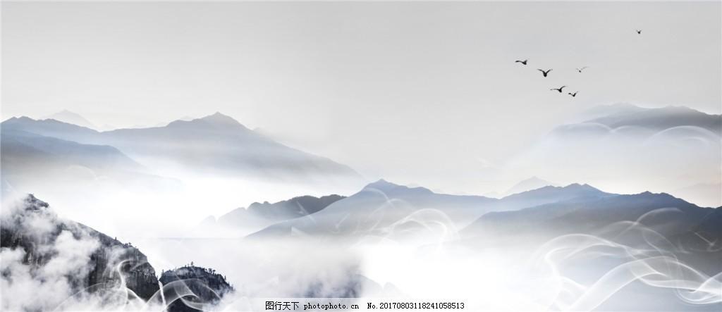 水墨中国风背景图,水墨背景,简约背景,淡色,远山,湖泊,水墨中国风清新背景展板设计图片下载