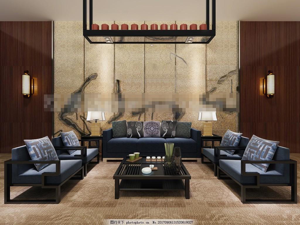 新中式沙发茶几组合,简约,背景墙,3d模型,效果图,装饰品,3d渲染
