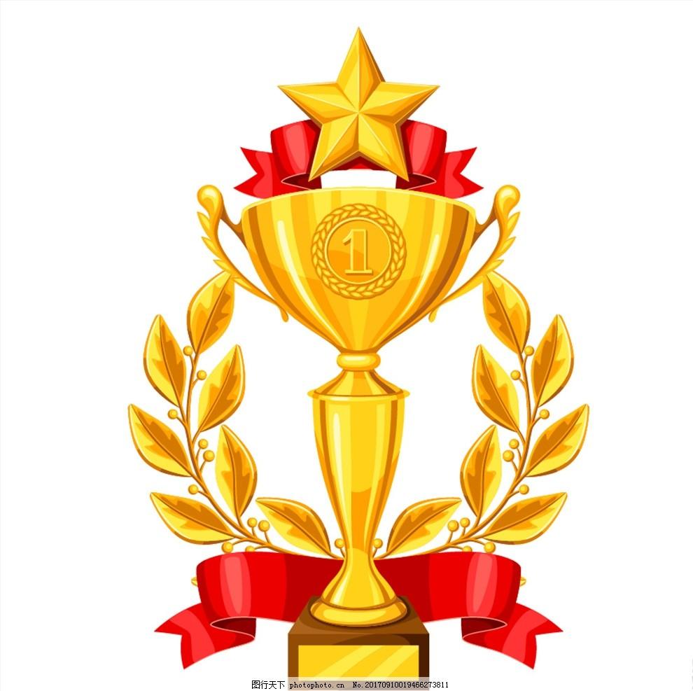 金色奖杯矢量素材,黄金,五角星,奖牌,丝带,月桂,叶子